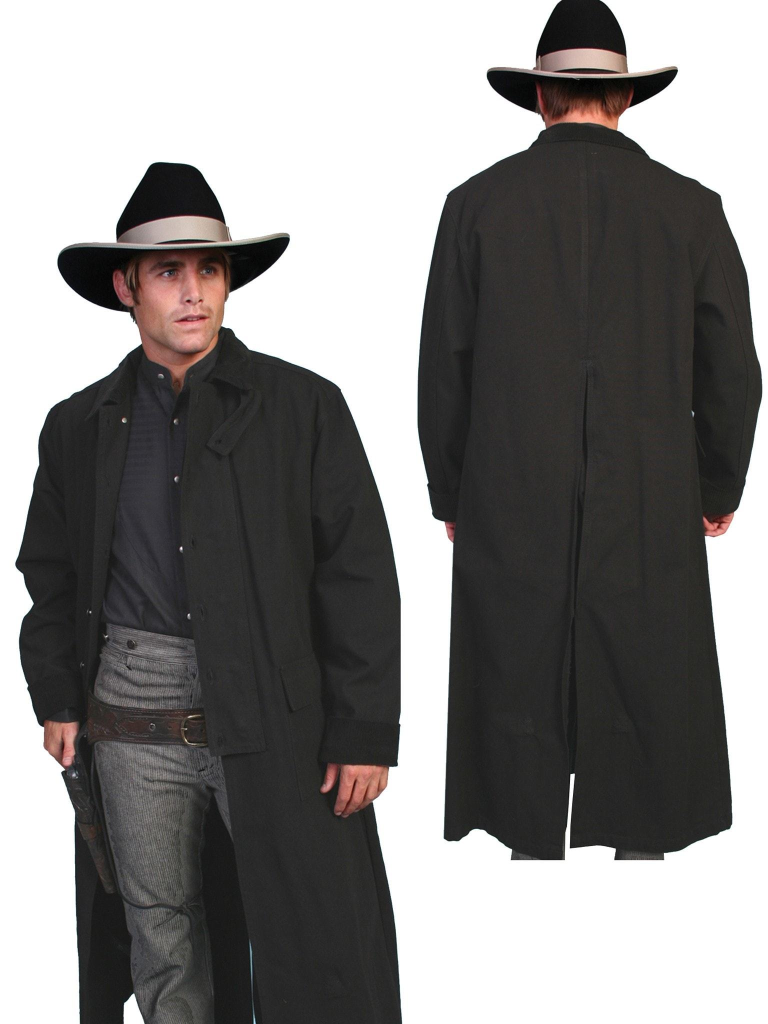 Black Cotton Long Overcoat Duster Coat