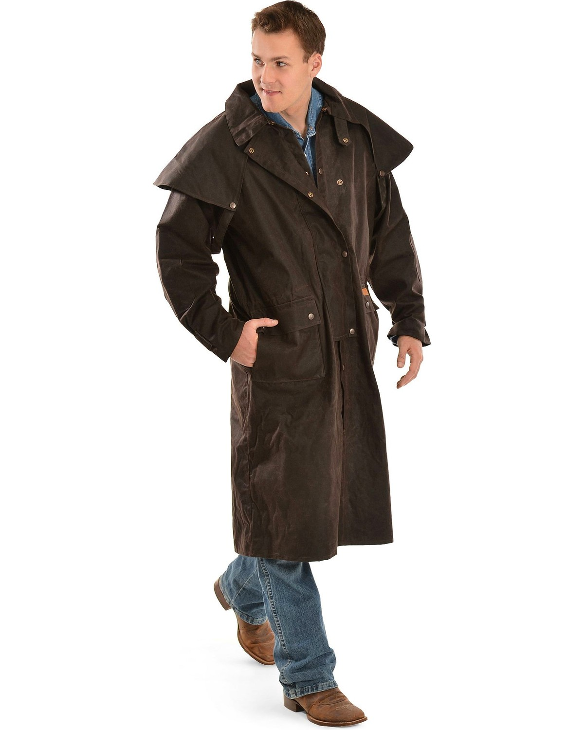 Brown Long Oilskin Duster Coat
